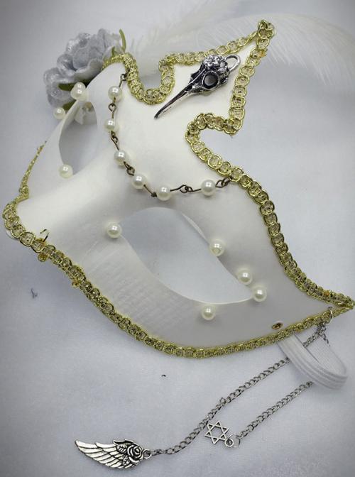 Elegant Gothic White Bead Chain Lolita Mask