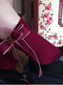 Red Bowknot Christmas Lolita Long Socks