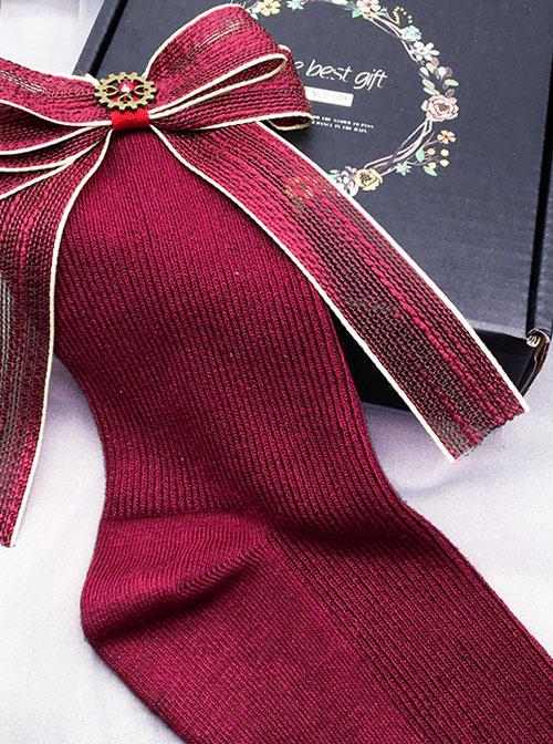 Red Bowknot Christmas Lolita Long Socks