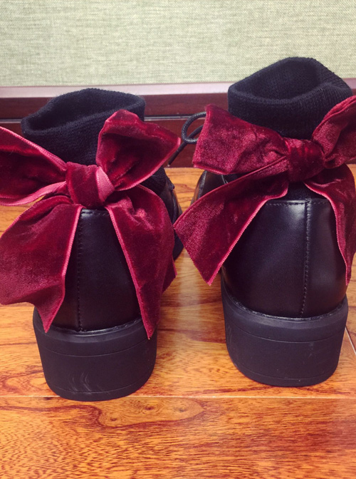 Retro Velvet Big Bowknot Lolita Short Socks