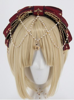 Fog-moon And Crown Series Bowknot Elegance KC Classic Lolita Headband With Detachable Pearl