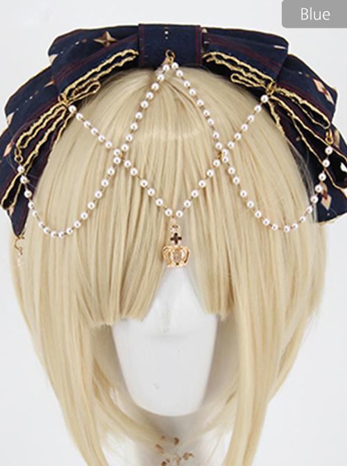 Fog-moon And Crown Series Bowknot Elegance KC Classic Lolita Headband With Detachable Pearl