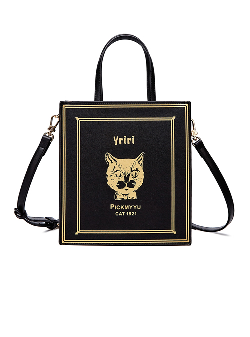 Cool Cat Gilding Printing Gothic Lolita Black Shoulder Bag