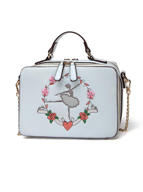 Ballet Girl Embroidery Sky Blue Classic Lolita Shoulder Bag