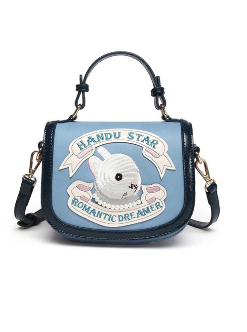 Cute Embroidery Rabbit Blue Sweet Lolita Shoulder Bag
