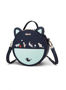 Cute Cat Embroidery Sweet Lolita Blue Shoulder Bag