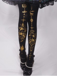 Rabbit's Halloween Series Golden Printing Black Gothic Lolita Pantyhose