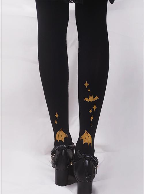Rabbit's Halloween Series Golden Printing Black Gothic Lolita Pantyhose