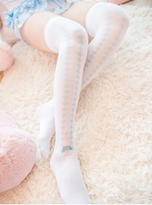 Cute Blue-white Rabbit Sweet Lolita Thigh Socks
