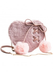 Love Heart-shape Cute Lace-up Plush Ball Sweet Lolita Shoulder Bag