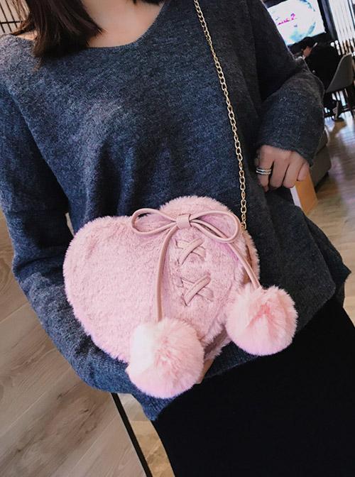 Love Heart-shape Cute Lace-up Plush Ball Sweet Lolita Shoulder Bag