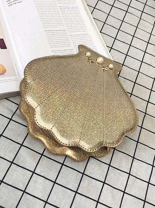Cute Laser Seashell-shape Lolita Pearl Chain Shoulder Bag