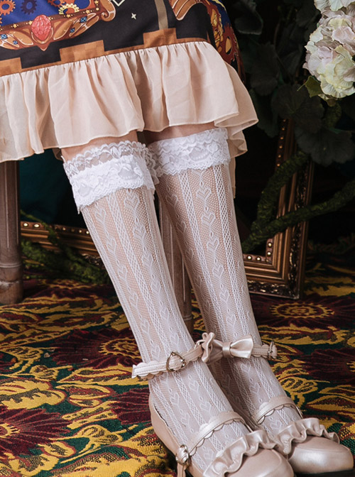 Black Or White Hollowed Out Love Heart-shape Lace Lolita Middle Tube Socks