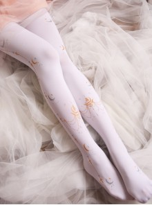Sailor Moon Printing Classic Lolita Black Or White Pantyhose