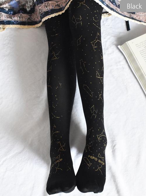 Bronzing Constellation Printing Classic Lolita Pantyhose