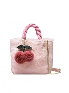 Plush Cherry Pendant Sweet Lolita Shoulder Bag