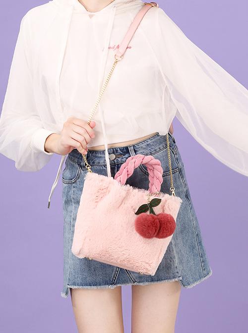 Plush Cherry Pendant Sweet Lolita Shoulder Bag
