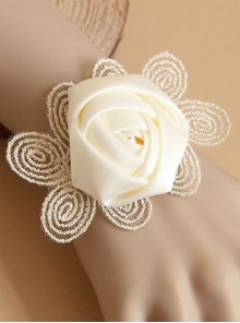 Retro White Rose Lace Bracelet