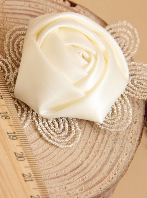 Retro White Rose Lace Bracelet