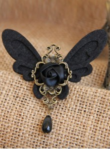 Black Retro Rose Butterfly Gothic Lolita Brooch