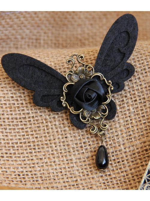 Black Retro Rose Butterfly Gothic Lolita Brooch