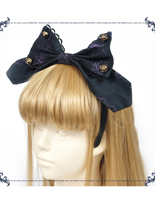 Beauty The Rose Series KC Gothic Lolita Gray And Purple Head Hoop