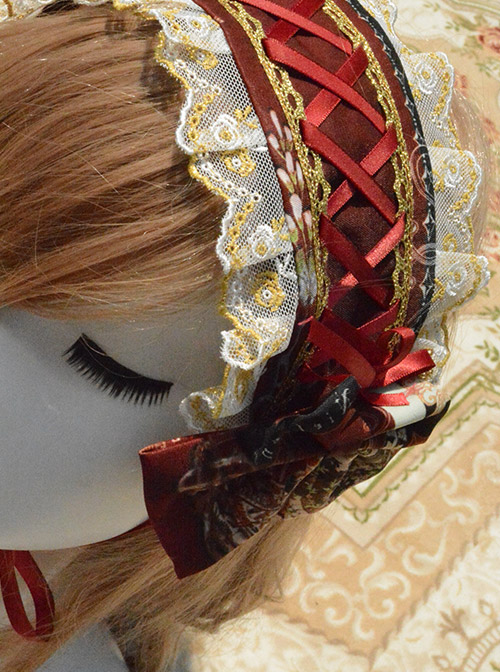 Ancient Castle Elf Printing Lace Bowknot Classic Lolita Hair Band