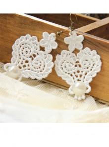 Baroque Palace Queen Elegant White Pearl White Lace Earrings