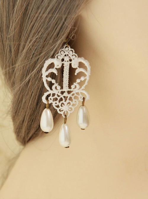 Vintage Earrings Court Lace White Pendant Earrings