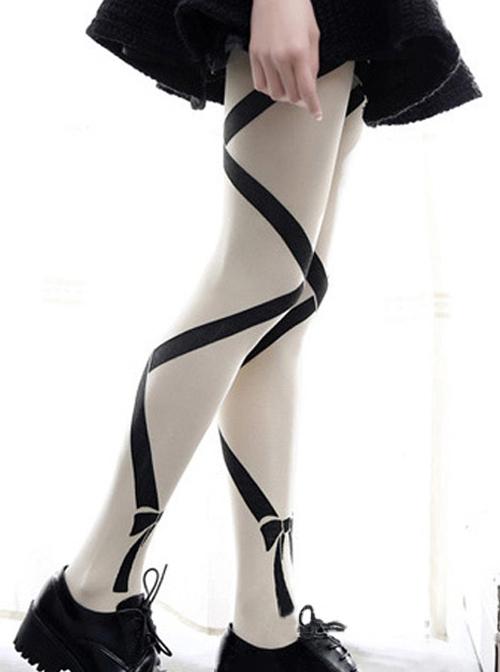 Intersect Bowknot Printing Gothic Lolita Pantyhose