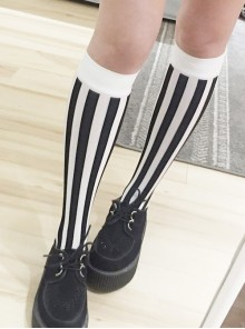 Black And White Vertical-stripes Lolita Mid stockings
