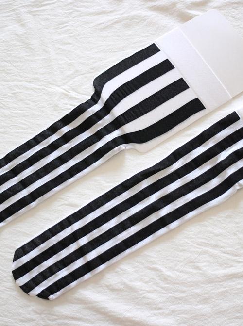 Black And White Vertical-stripes Lolita Mid stockings