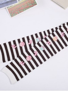 Cute Macaron Bowknot Printing Sweet Lolita Long Stockings