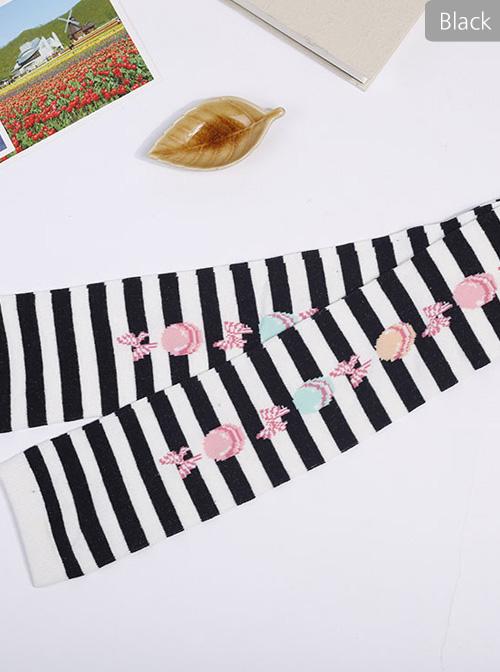 Cute Macaron Bowknot Printing Sweet Lolita Long Stockings