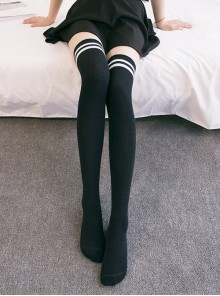 Two Stripes Style Multicolor School Lolita Long Stockings
