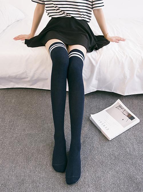 Two Stripes Style Multicolor School Lolita Long Stockings