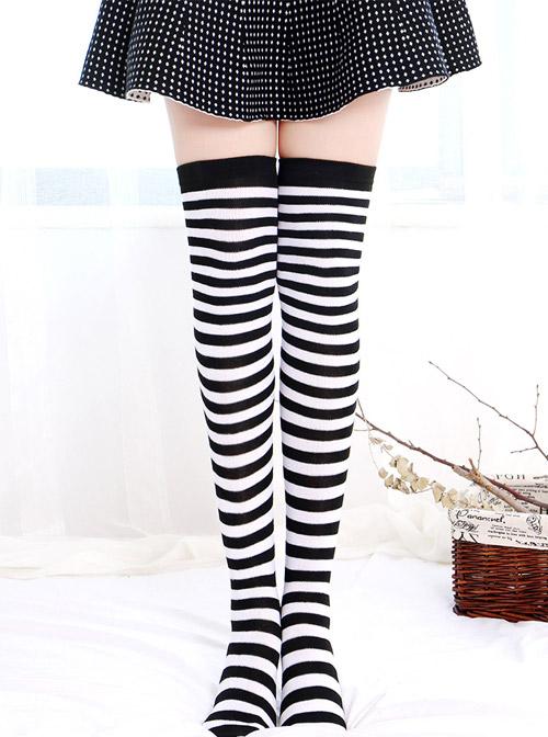 Christmas Classic Zebra Stripes School Lolita Long Stockings