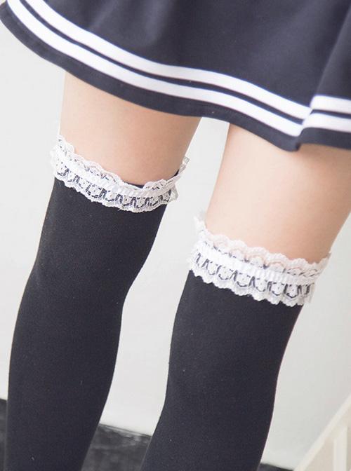 Cute Black And White Classic Lolita Stockings