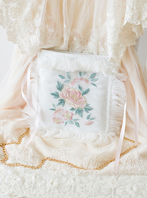 Chinese Style Retro Flowers Embroidery Qi Lolita White Lace Pillow Bag