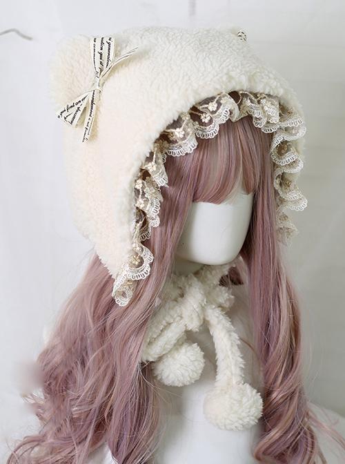 Cute Bear Ears Sweet Lolita Daily Ears Protection Short Plush Hat
