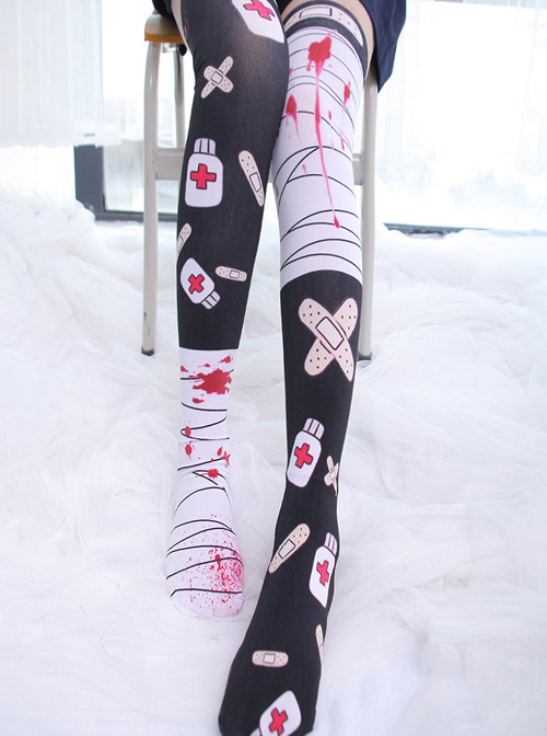 Bandage And Band-aid Printing Gothic Lolita Stockings