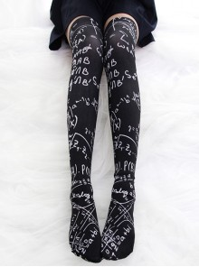 Mathematical Formula Series Printing Gothic Lolita Black Stockings