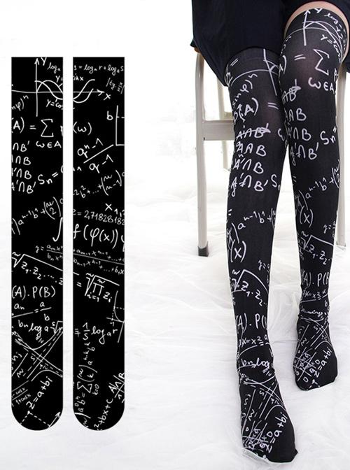 Mathematical Formula Series Printing Gothic Lolita Black Stockings