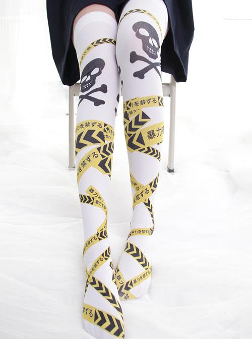 Forbidden Band Printing Gothic Lolita Stockings