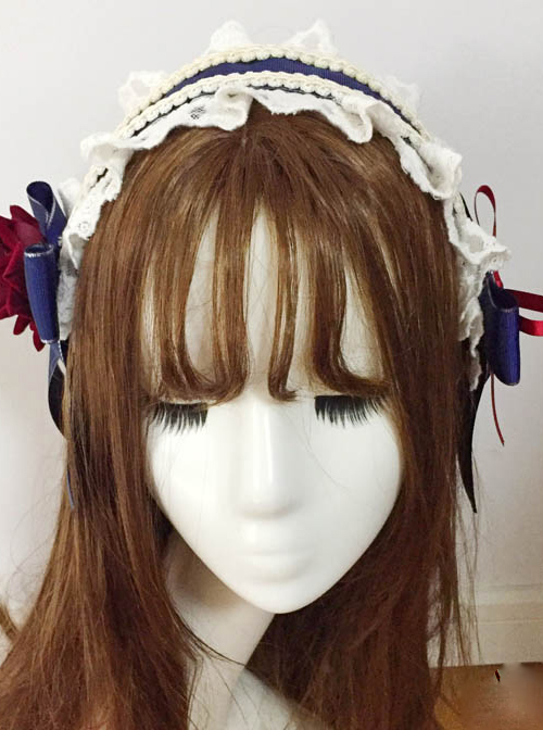 Vintage Ornate Red Rose Navy Blue Bowknot Classic Lolita Hairband