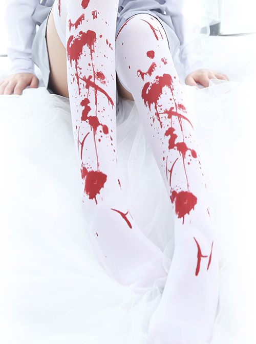 Halloween Bloodstain Printing Gothic Lolita Stocking