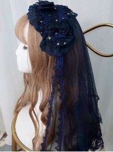 *The Night Of Stars And Moon* Bronzing Printing Classic Lolita Hairband Veil