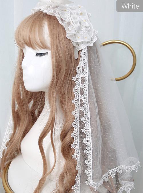 *The Night Of Stars And Moon* Bronzing Printing Classic Lolita Hairband Veil