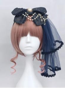 Bronzing Constellation Chiffon Bowknot  KC Classic Lolita Head Hoop