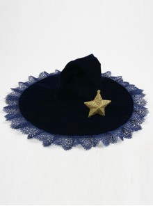 Velveteen Stars Lace Halloween Gothic Lolita Witch Hat